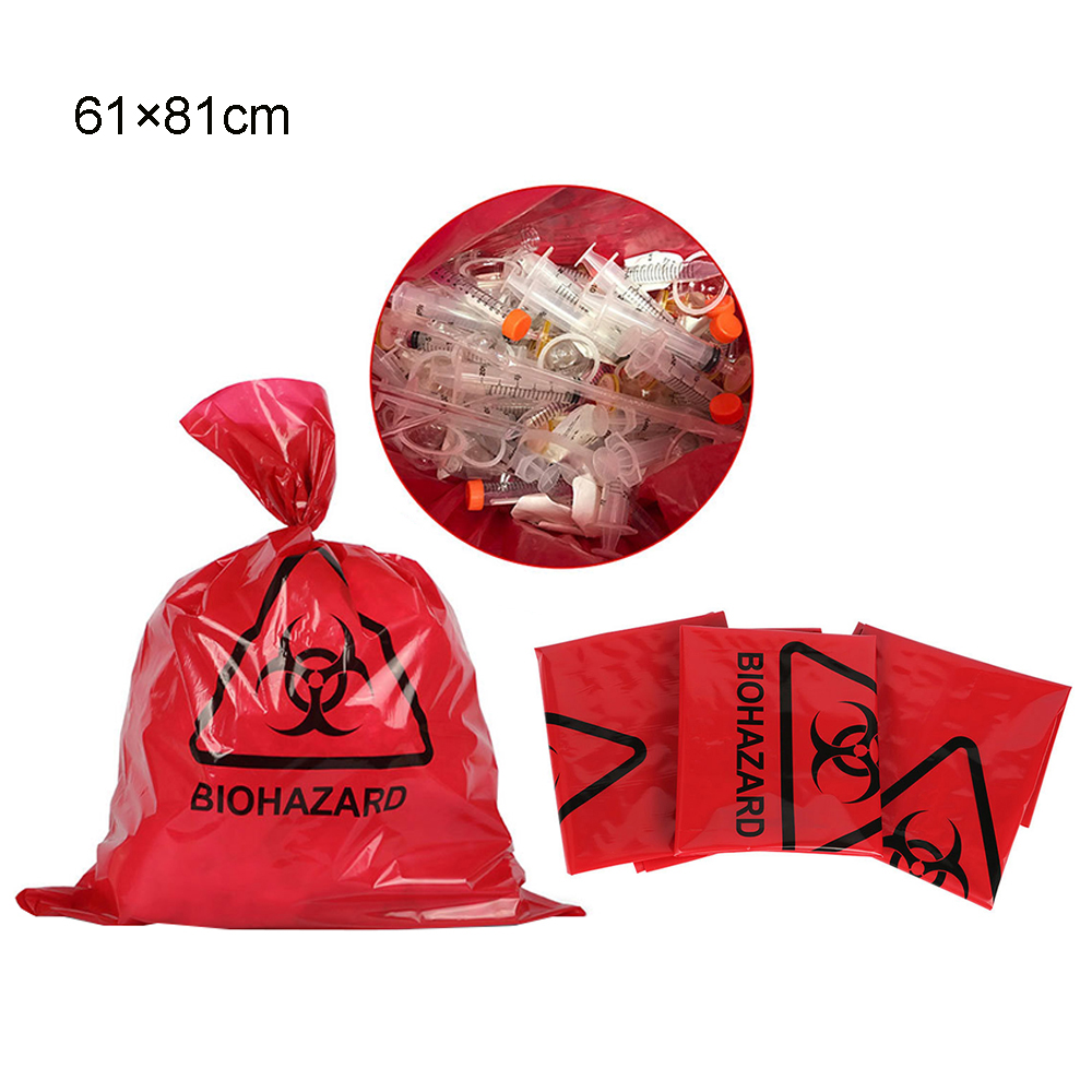 10pcs New M/L Size Red Biohazard Waste Heavy Duty Garbage Bag, Hospital Medicals Biohazard Supplies, Waste Bag, Waste Bag