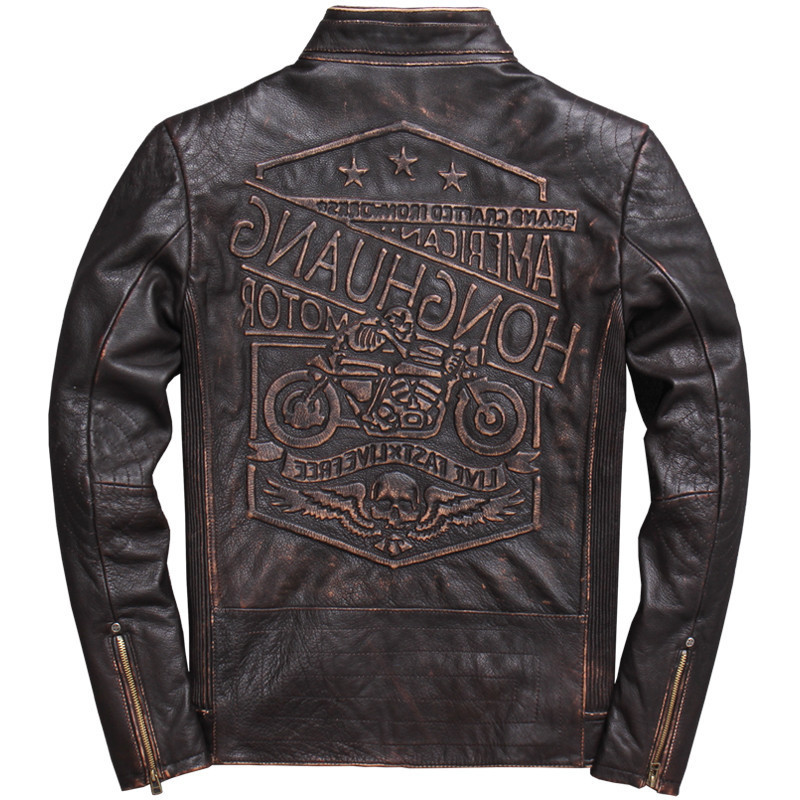 2020 Vintage Brown Men Motorcycle Leather Jacket Plus Size XXXL Genuine Thick Cowhide Spring Slim Fit Biker's Coat FREE SHIPPING
