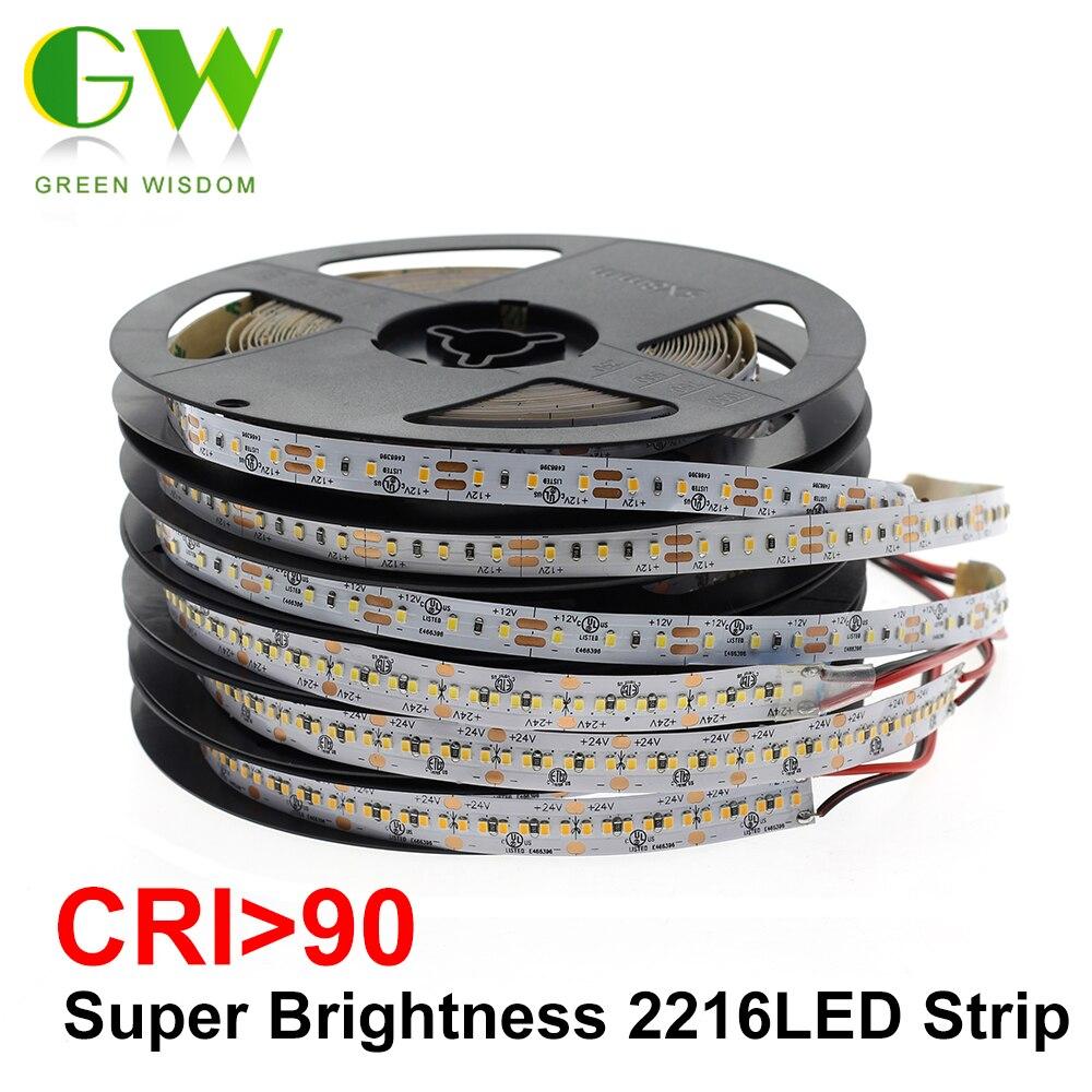 ハイエンド LED ストリップ SMD 2216 CRI> 90 12V 120 LEDs/メートル 24V 300 Led/ m 3000 18K 4000 18K 6000 18K 高輝度柔軟な Led ライトテープ 5 メートル/ロット