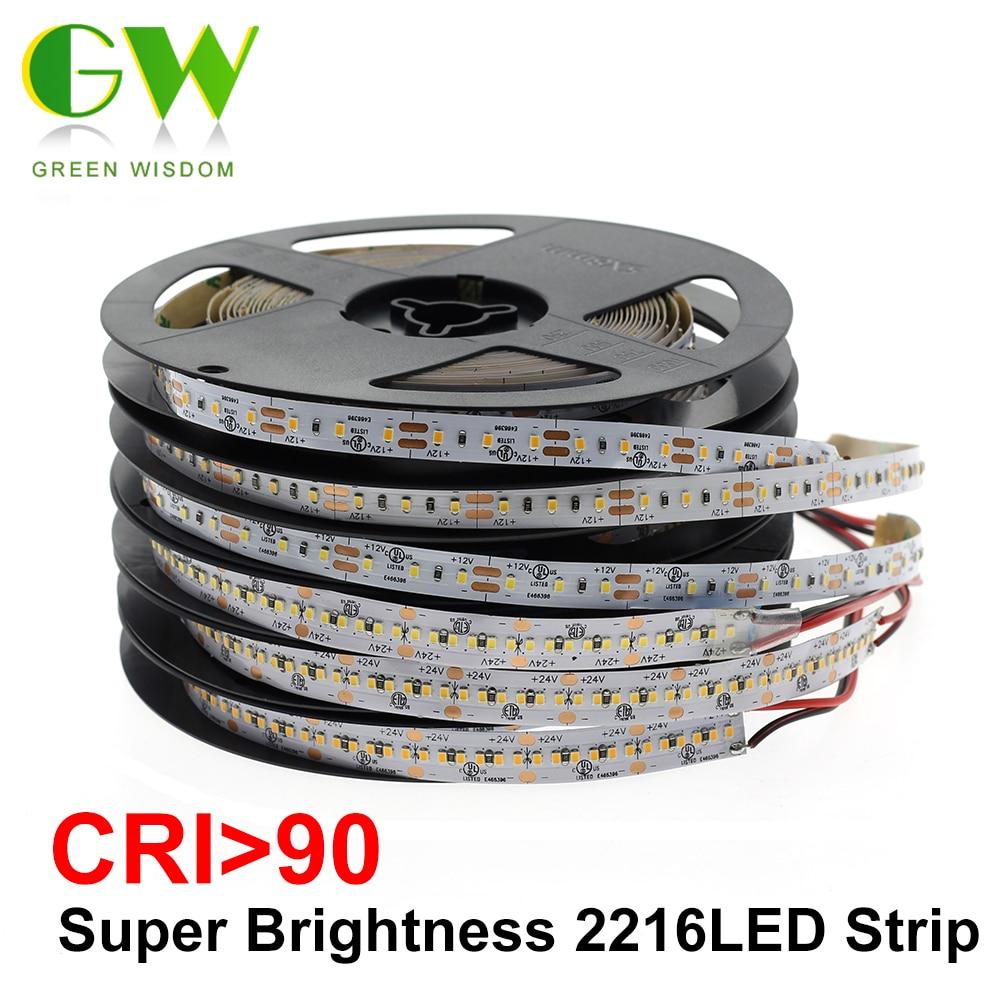 하이 엔드 led 스트립 smd 2216 cri> 90 12 v 120 leds/m 24 v 300 leds/m 3000 k 4000 k 6000 k 고휘도 유연한 led 라이트 테이프 5 메터/몫