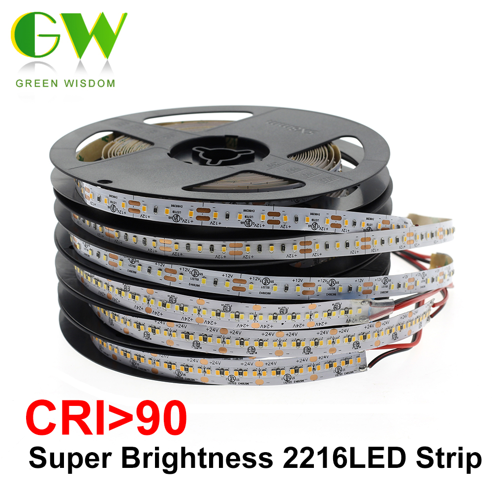 High End LED Strip SMD 2216 CRI>90 12V 120LEDs/m 24V 300LEDs/m 3000K 4000K 6000K High Brightness Flexible LED Light Tape 5m/lot