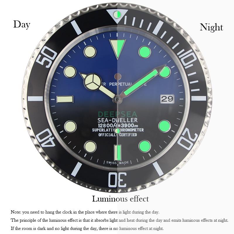Luxury Design Wall นาฬิกาโลหะนาฬิกาศิลปะนาฬิกาผนังวันที่ Relogio De Parede Horloge Decorativo ที่สอดคล้องกันโลโก้-ใน นาฬิกาแขวนผนัง จาก บ้านและสวน บน   2