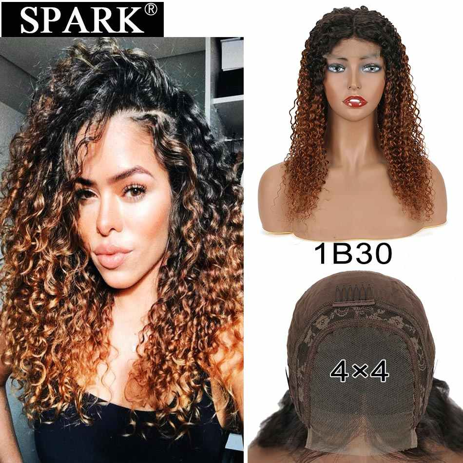 Spark Malaysia Kinky Curly Human Hair Wig 13*4/4*4 Lace Front Wigs Pre Plucked Remy Hair Lace Frontal Wig Blonde For Black Woman