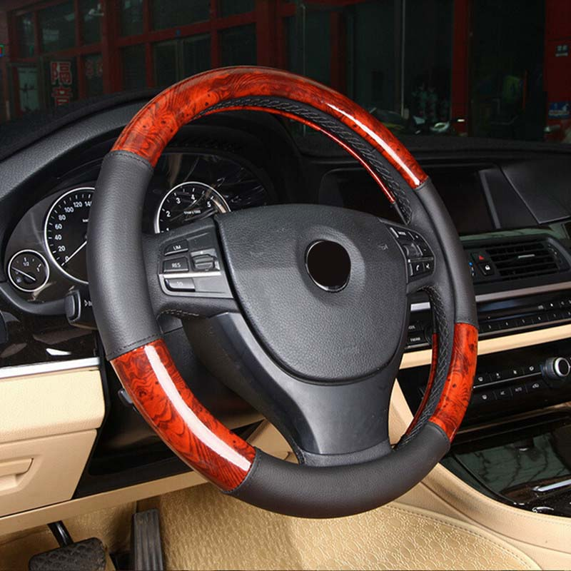 Faux Wooden Leather Car Steering Wheel Cover 3 piece steer wheel 36/37/38/39/40CM for Mercedes BMW E46 E90 E91 Volkswagen Toyota image