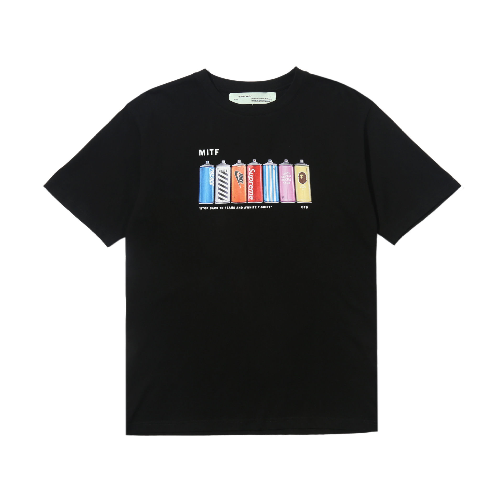 For Pure Ouma Off White Popular Brand Cartoon Red Lines-Paint The Bottle Printed All-cotton T-shirt