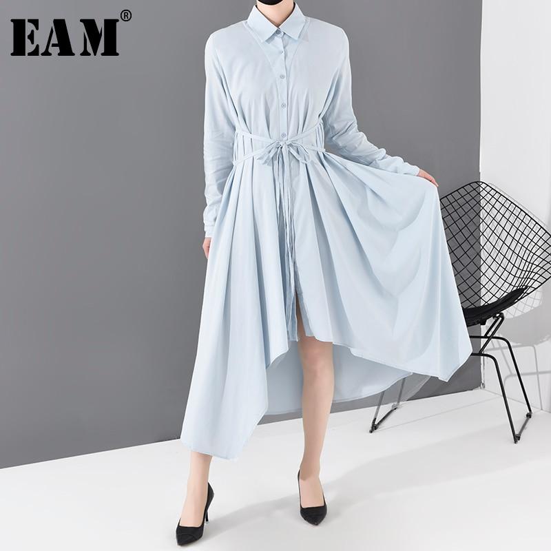 [EAM] Women Blue Asymmetrical Hem Bandage Shirt Dress New Lapel Long Sleeve Loose Fit Fashion Tide Spring Autumn 2020 JO665