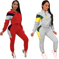 Autumn and winter 2019new color contrast fashion splicing long sleeve loose casual suit women's running leisure suit 2 piece set