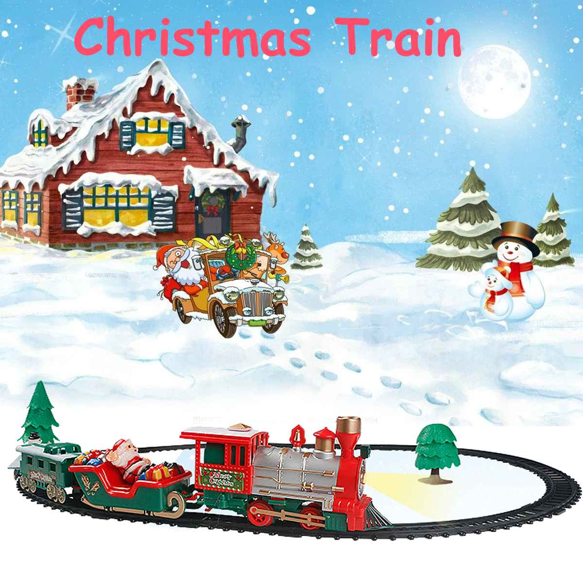 Children Track Small Train Toy Electric Christmas Train Simulation Classic Power RC Track Train Set Holiday Gift