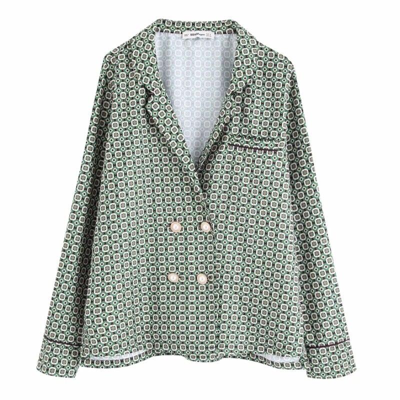 New Women Vintage Geometric Print Pearl Buttons Casual Loose Kimono Blouse Shirts Women Chic Blusas Roupas Femininas Tops LS6008