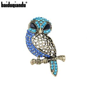 baiduqiandu Brand Black Crystal Eye and Blue Rhinestones Owl Brooch Pins for Women Fashion Jewelry Accessories