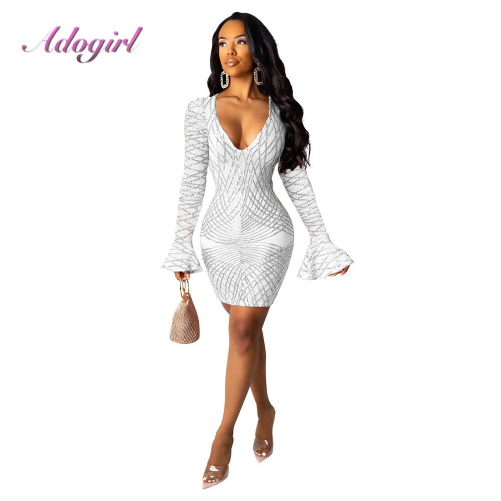 Ladies Women Long Flare Sleeve Bodycon Casual Party Evening Cocktail Mini Dress