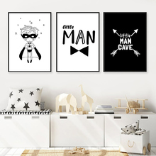 Cartoon Little Man Nordic Poster Black And White Print Painting Nursery Canvas Wall Art Arrow Poster Wall Art Pictures Kids Room cartoon rocket blast off nursery canvas painting universe black and white art nordic scandinavian poster print kids room decor