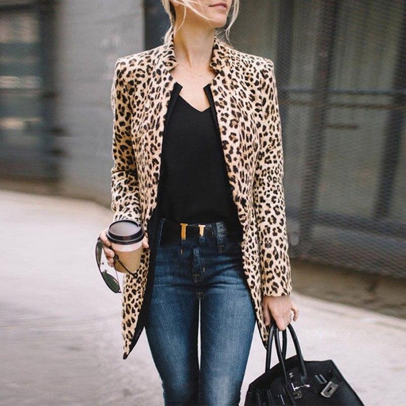 Winter Women Blazer Fashion Leopard Print Coat Plus Size Long Sleeve Coat Sexy Femme Blazers Jackets Office Lady Blazers Tops