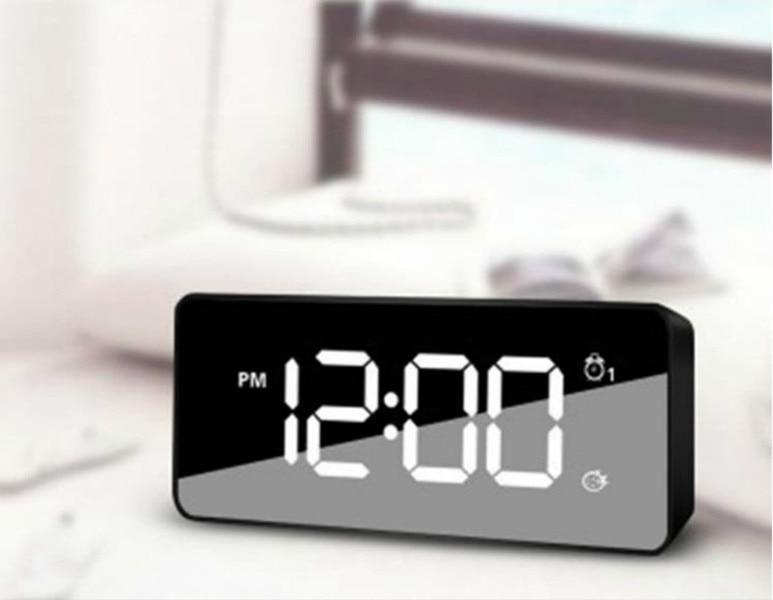 Mirror LED Alarm Clock Night Lights Thermometer Digital Clock with USB Charging