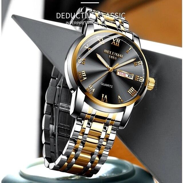 BELUSHI Business Mens Watches Famous Brand Luxury Big Dial Male Watch Waterproof Quartz Gold Watch Men montre homme 2021 5