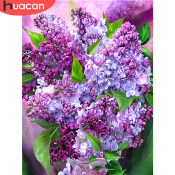 HUACAN DIY Diamond Embroidery Painting Flower With Home Decoration Cross Stitch Purple Lilac Mosaic - discount item  26% OFF Arts,Crafts & Sewing