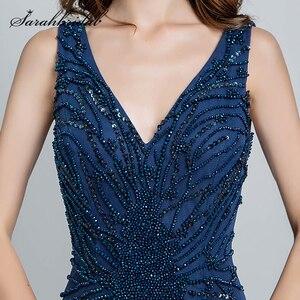 Image 5 - Sexy licou cou robes de soirée dos nu élégant sirène noir violet Satin perles fête robes de bal longueur de plancher longue SD176 5116