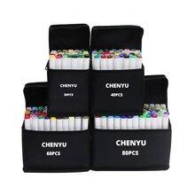 CHENYU 30/40/60/80 sztuk markery alkoholu Manga rysunek markery długopis na bazie alkoholu nietoksyczny szkic tłustej Twin pędzelek do zdobień dostaw sztuki