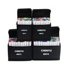 Chenyu 30/40/60/80 pces marcadores de álcool mangá desenho marcadores caneta álcool baseado não tóxico esboço oleoso gêmeo escova caneta arte suprimentos