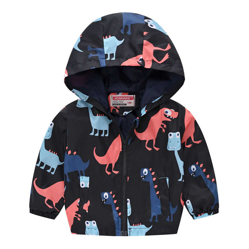 Kids Baby Boys Autumn Jacket Black Cartoon Dinosaur Zipper Windbreaker Coat Girls Waterproof Hoodies Outerwear Children Clothing
