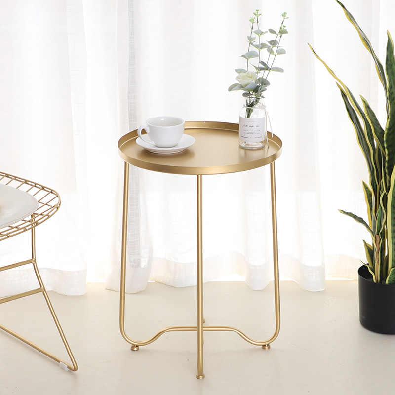 meubles salon d'appoint basse disque Table de fer Table à pliable doré maison mobile table d'extrémité Table Nordique manger canapé petite kZuiPXOT