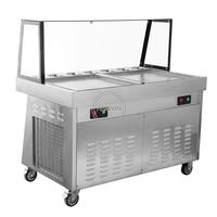 5% discount 2400w fried ice cream machine stainless steel ice cream machinedouble pans ice cream roll machine