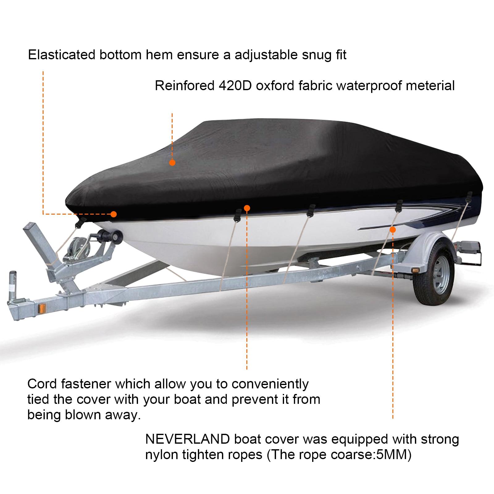 20 21 22ft Trailerable Boat Cover V-hull Fish Ski Heavy Duty 210D Waterproof