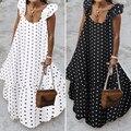 ZANZEA 2021 Sommer Leopard Sommerkleid Frauen Böhmischen Polka Gedruckt Maxi Kleid Casual Weibliche Ärmellose Robe Lange Rüschen Vestidos