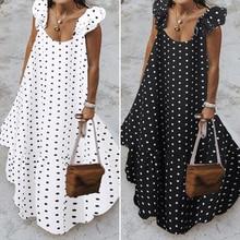 ZANZEA 2021 Summer Leopard Sundress Women Bohemian Polka Printed Maxi Dress Casual Female Sleeveless Robe Long Ruffles Vestidos