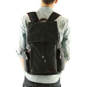 Image 4 - Men backpack leisure shouldertravel Retro canvas backpacks mens bags student school bag computer bags