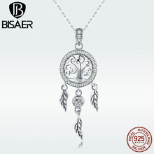 BISAER Pendant Necklace 925 Sterling Silver Bohemia Dream Catcher Tree of Life Leaf Chain Necklace for Women Luxury Gift  GXN298 eudora 925 sterling silver tree of life necklace cloud tree pendant fortitude design jewelry for women happy birthday gift d449