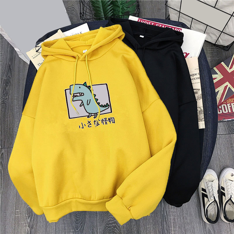 Spring Autumn Hoodies Women Dinosaur Printed Fleece Hoody Pullover Sweat Femme Harajuku Women's Sweatshirt Hooded Long Sleeve
