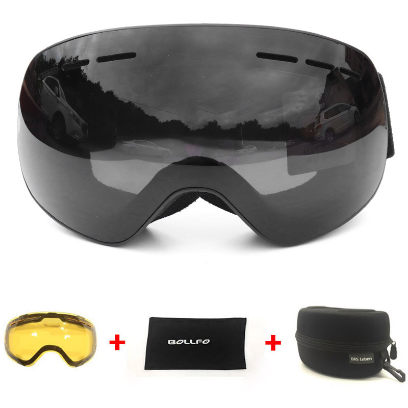 BOLLFO Ski Goggles With Magnetic Double Layers Lens Polarized Skiing Anti-Fog UV400 Snowboard Goggles Men Glasses Skiing Eyewear