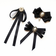 Imitation Pearl Ribbon Brooches Pin Bow Tie Vintage Pre-Tied Collar Jewelry Bowknot Shirt Necktie Clip for Women Girls