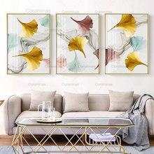Современная Настенная Картина на холсте hd золотые розовые листья