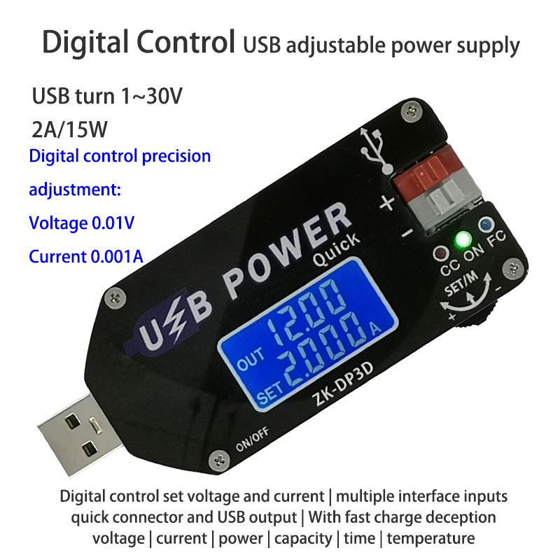 CNC USB TYEPE-C DC DC Converter CC CV 1-30V 2A 15W Power Module Adjustable Regulated Power Supply QC2.0 3.0 AFC