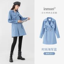 INMAN Trench causale primavera autunno olio polvere acqua prevenire donna Lady doppio colletto dentellato giacca a vento minima capispalla
