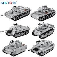 WW2 niemiecki czołg wojskowy Model klocki bloki techniczne śledzony pojazd pancerny żołnierz armii cegły zabawki dla chłopców