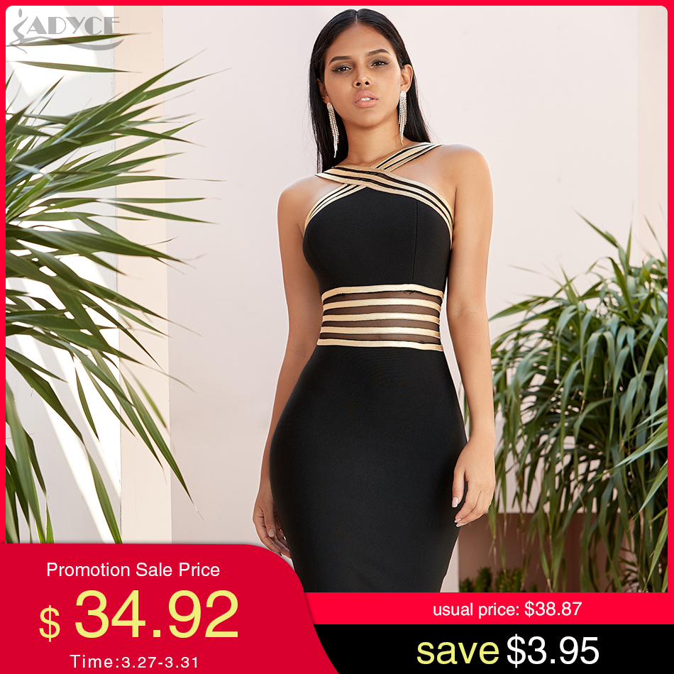 Adyce 2020 New Autumen Halter Lace Bandage Dress Women Sexy Hollow Out Bodycon Club Celebrity Evening Runway Party Dress Vestido