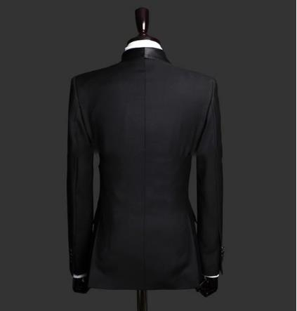 Image 3 - Custom Made Slim Fit Black 2 Piece Mens Blazer Double Breasted Suit Men Wedding Suits Groom Tuxedos For Men (Jacket+Pants+Tie)-in Suits from Men's Clothing