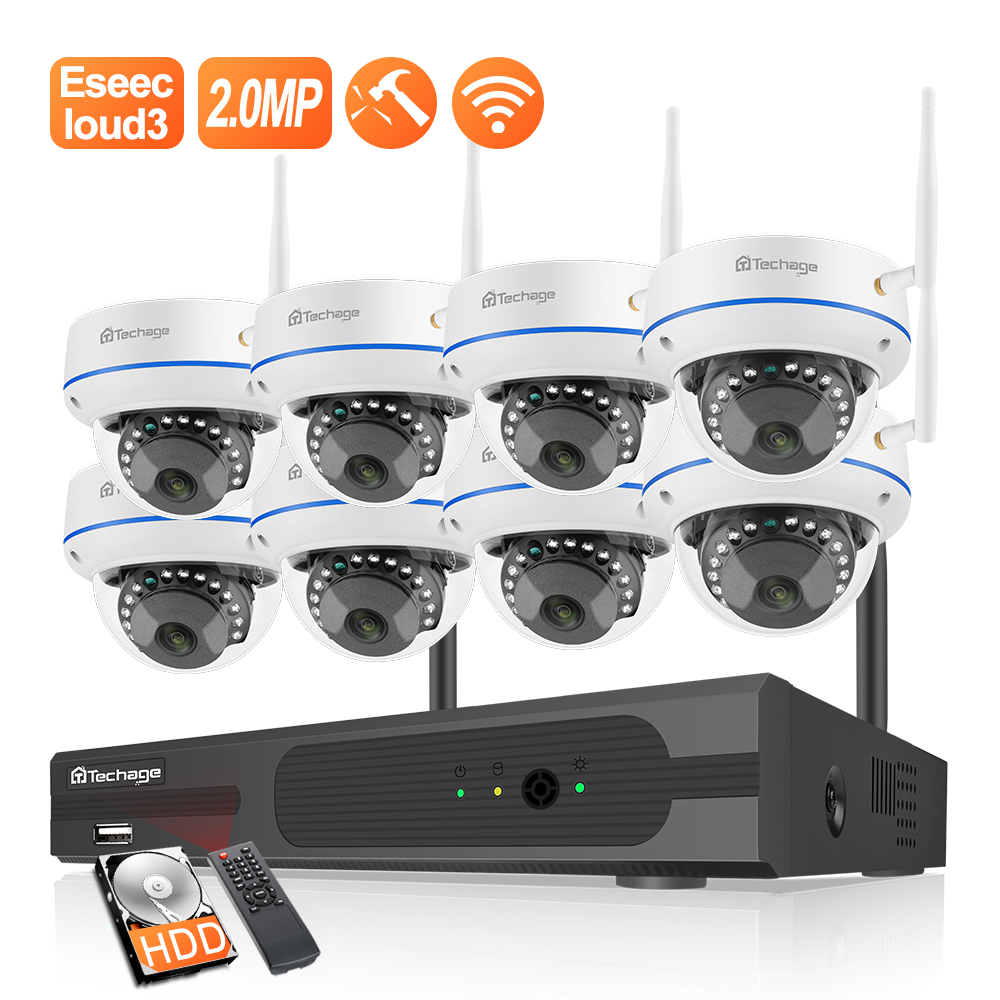 Techage 8CH 1080P Wireless NVR CCTV Surveillance Set Security IP Camera System 2MP Wifi Audio Sound CCTV Dome Indoor Camera