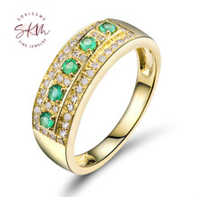 SKM 14K 18K Solid Yellow Gold Emerald Ring Natural Diamond Wedding Rings Jewelry Engagement Gift noble jewelry emerald cut 6x8mm solid 18k two tone gold natural diamond tanzanite pendants jewelry for women wp070