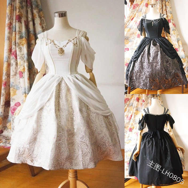 Women Dress Lolita Dress Folds Dress Medieval Vintage Short Sleeve Square Collar Party Ball Gowns Cosplay Costumes