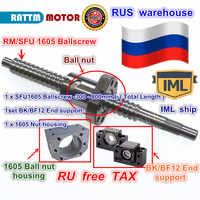 RU freies schiff SFU1605 Ballscrew-L300mm/500mm/ 600mm/ 800mm Ende bearbeitet & Ball mutter & BK/BF12 Unterstützung & Mutter gehäuse für CNC Router