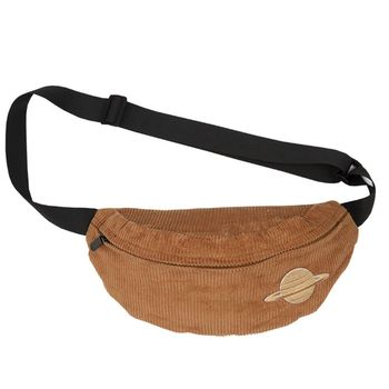 цена на Japanese Style Corduroy Velvet Fanny Pack Waist Bag Cute Cartoon Applique Embroidery Chest Shoulder Crossbody Purse