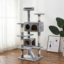 Luxo gato de estimação árvore torre apartamento apartamento cubo casa pulando brinquedo com trilhos sisal raspador corda sisal para gatinho escalada