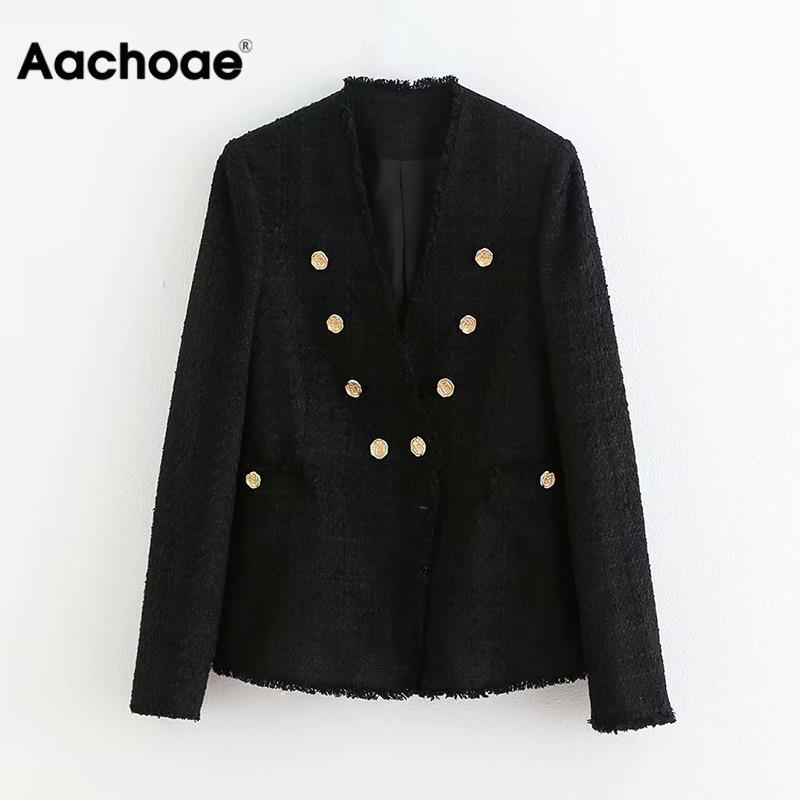 Fashion Black Color Blazer Women Double Breasted Long Sleeve Casual Coat Female V Neck Button Elegant Jacket Outwear Veste Femme