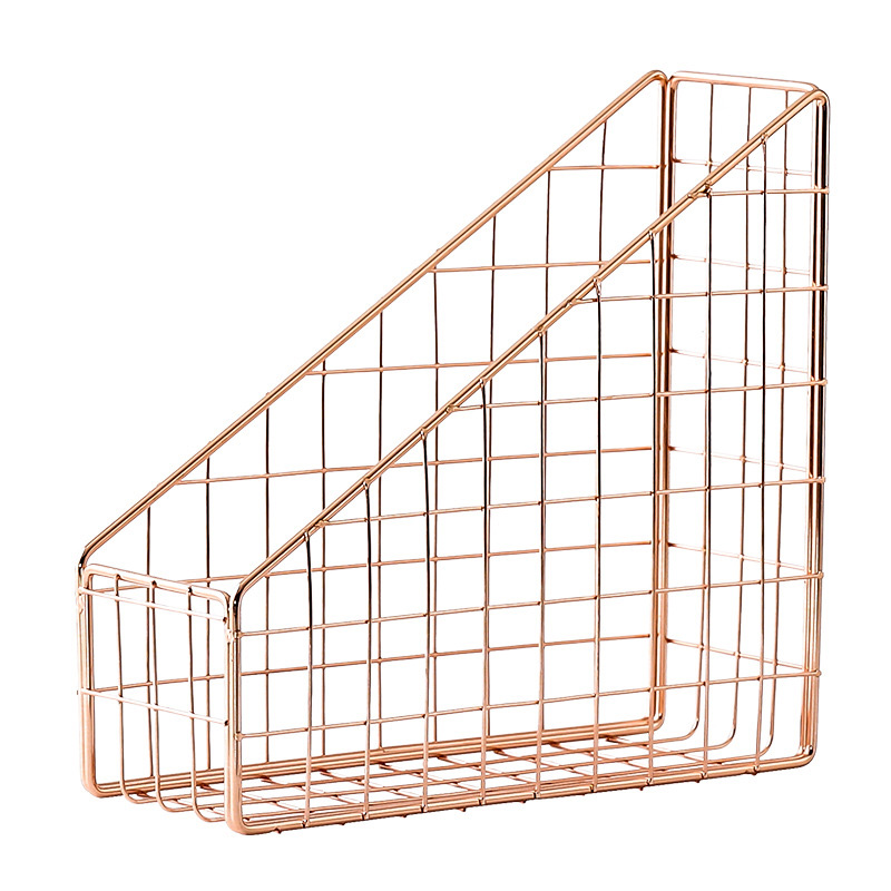 Rose Gold Electroplated Iron Book Holder Desktop Shelf File Magazine Book Stand Office Home Stationery Organizer Holder