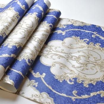 Ciemny niebieska w kwiaty w stylu wiktoriańskim tapeta z adamaszku luksusowe winylu tapeta w rolce sypialnia salon tapeta dekoracyjna tanie i dobre opinie ovoin CN (pochodzenie) USD rolka Papier TŁOCZONA Nowoczesne Tapety winylowe Tapety winylowe na papierze do pokoju z pościelą