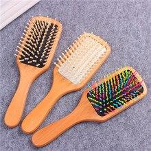 Brosse de Massage en bambou, peigne en bois, coussin antistatique professionnel, perte de cheveux, soins du cuir chevelu, 1 pièce